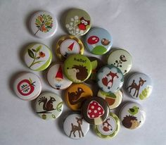 25 Woodland Creatures flat back  Buttons - great for party favors