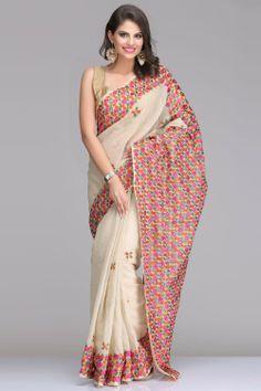 sheer beauty --- Light Beige Net Saree With Multicoloured Phulkari Embroidery Phulkari Saree, Kasavu Saree, Beautiful Indian Brides, Beautiful Saree, Phulkari Embroidery, Saree Trends, Sheer Beauty, Elegant Saree, Net Saree