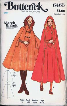 Uncut Size 8 10 Margit Brandt Flared Cape Butterick 6465 Vintage Sewing Pattern Hood Young Designer of Copenhagen Danish Small S Vintage Sewing Patterns, Clothing Patterns, Pattern Sewing, 70s Fashion, Vintage Fashion, Fashion Cape, Fashion Ideas, 1970 Style, Cape Pattern