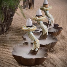 dhgate daily deals -Ceramic Backflow Smoke Mushroom Shap Incense Burner Holder Cones Home Decoration Sandalwood Censer with 10 Cones Free Z00D576