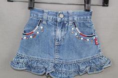 Osh Kosh B Gosh Size 4 Denim Stars Stripes Flag Ruffled Skirt with Shorts #OshKoshBgosh