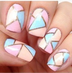 Multi coloured abstract nails