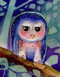 Moon Night Owl Artwork by BlueBirdie
