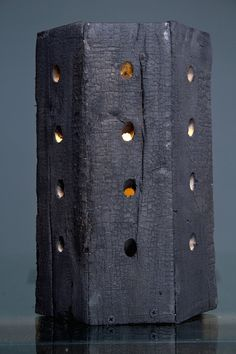 Charred wood Lamp Shou Sugi Ban by cuspinerascrafts on Etsy
