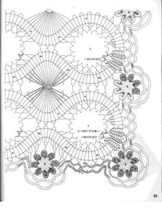 Napkin-track with elements of the Bruges lace, crocheted . Discussion on LiveInternet - Russian Service Online Diaries Filet Crochet, Crochet Doily Diagram, Crochet Borders, Irish Crochet, Crochet Motif, Crochet Doilies, Russian Crochet, Diy Crafts Crochet, Crochet Art