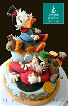 """Christmas Cake Art!  """"Scrooge and the Thief"""" Cake  ~  two funny enemies trying to get what they like most....money! ~ all edible"""