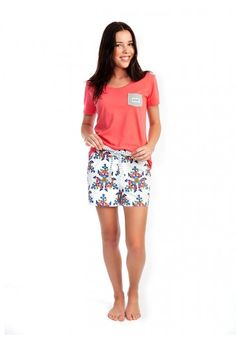 Unsinkable Mum organic cotton women's pyjama shorts, worn with the organic cotton Give us a T!Shirt in rose. Available from www.thegoodnightsociety.com.au