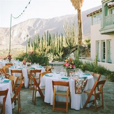 White tablecloths/pops of color