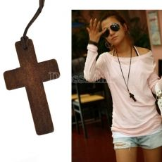 Ancient Nice Wooden Cross Retro Style Necklace Pendant Gift