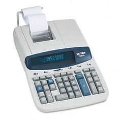 """Victor 1530-6 Heavy Duty Commercial Printing Calculator - 10 Character(s) - Fluorescent - Power Adapter Powered - 8.5"""" x 12.25"""" x 2.75"""" - Gray by Victor. $144.00. Heavy-duty 10-Digit Calculator prints two colors at 5.2 lines per second and features a fluorescent display. Print or display an entire amortization schedule, specific month or range of months. Compute loans easily and accurately. Enter amount, term and interest rate and solve. Compute the number of days betw..."""
