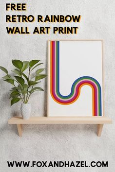 Bring back that retro vibe with this fun retro wall art printable! Colorful and fun, it's sure to bring a vintage pop to any room! #retroart #retrowallart #freewallart Unique Wall Art, Diy Wall Art, Diy Art, Printable Designs, Printable Wall Art, Free Printables, Freebies, Rainbow Wall, Wall Murals