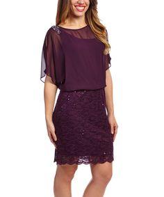 Look at this #zulilyfind! Wine Lace Blouson Dress - Women #zulilyfinds