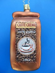 INGE GLAS COFFEE BAG GERMAN BLOWN GLASS CHRISTMAS ORNAMENT CAFE CREME