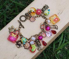 Must Love Cats Assemblage Bracelet Resin Cat Charm Crystal Button Acrylic Flower #Jeanninehandmade #Chain