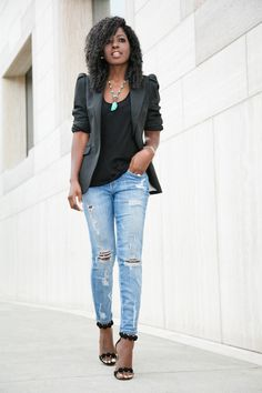 Puff Shoulder Blazer x Ripped Stiletto Jeans