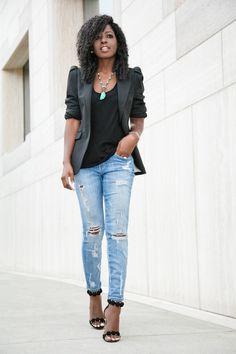 Puff Shoulder Blazer x Ripped Stiletto Jeans