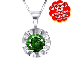 """1/30 ct Green Real Natural Diamond 18K Gold Over Solitaire Pendant with 18"""" Chain Necklace. Starting at $30"""