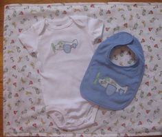 Pilot baby gift set with airplane applique