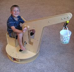 Woodworking For Kids Kid Crane Riding Toy - This Instructable is for building a kids toy crane. I call it a toy, but it is really a heavy duty machine for a kid of any age. I designed this crane for my so. Kids Woodworking Projects, Diy Projects For Kids, Diy For Kids, Wood Projects, Diy Woodworking, Woodworking Furniture, Toy Crane, Diy Wood Signs, Wooden Crafts