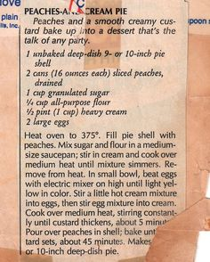 Vintage Recipes 1950S | Vintage/Retro Recipes / Peaches n Cream Pie