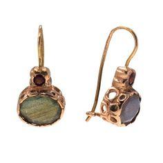 14k Solid Gold Labradorite Earrings   Handmade Vintage Drop Earrings