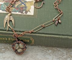 Wire wrapped jasper eggs birds nest necklace by DragonflyDreamers,