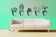 Potted Plants wall decal set of 5 plants by RadRaspberry on Etsy
