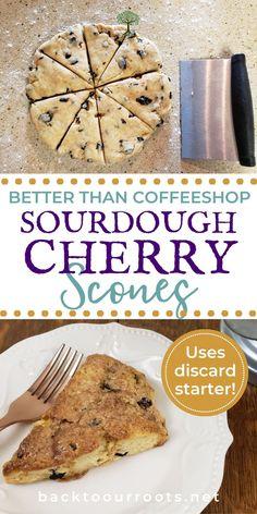 Sourdough Starter Discard Recipe, Sourdough Recipes, Sourdough Bread, Bread Recipes, Real Food Recipes, Baking Recipes, Date Scones, Cherry Scones, Snacks