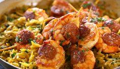 The Hairy Bikers orzo pasta bake with chorizo and prawns kabab recipe
