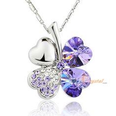 Purple Clover Swarovski Crystal Elements Necklace