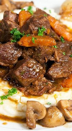 Julia Child's Beef Bourguignon and Garlic Mashed Potatoes