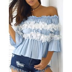 Graceful Women's Off-The-Shoulder Flowers Bell Sleeves Blouse | TwinkleDeals.com