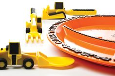 Constructive Eating Plate and Utensils Construction Plate Bull Dozer Pusher Front Loader Spoon Fork Lift Fork