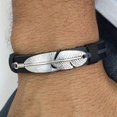 Pulseira Masculina Couro Legitimo Pena Prata Vintage mens bracelets fashion cocar brasil