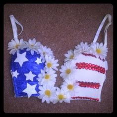 American flag rave bra plunge top