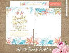 Beautiful beach themed bridal shower invitations, wedding shower invites or beach wedding invitations, coral, starfish, seashells and bubbles, coral pink, gold, teal blue. Printed invitations or DIY Printable Digital File