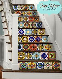 Tile sticker on pinterest stair risers stickers and tile - Stickers contremarche escalier ...