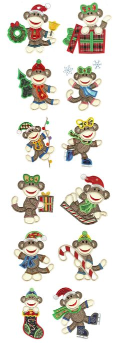 Embroidery | Free Machine Embroidery Designs | Christmas Sock Monkeys Applique