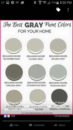 Gray Paint Colors for Your Home - (Best Benjamin Moore Gray Paint) Want to go with gray paint for your home? All of the choices can be overwhelming. These Benjamin Moore gray paint colors are perfect every time! Interior Paint Colors For Living Room, Exterior Paint Colors, Paint Colors For Home, House Colors, Interior Painting, Bedroom Colors, Stucco Colors, Interior Colors, Gray Bedroom
