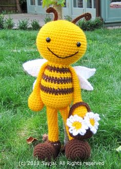 Happy Bee with Flower Basket Amigurumi Crochet Pattern ~ Amigurumi crochet patterns ~ K and J Dolls / K and J Publishing