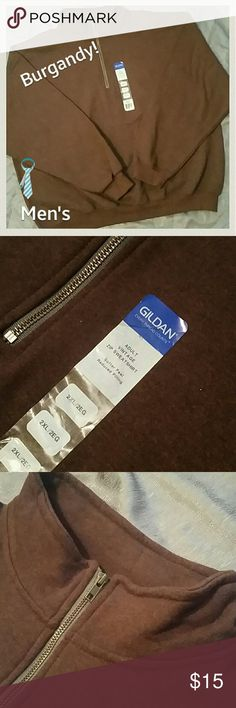 JUST IN! NWT! Men's Gildan Vintage Zip Swt.Shrt. NWT! Men's Adult Gildan Vintage Zip Sweatshirt. Very durable. Great everyday ruggedness. Good for work. Camping, hiking, anything really! The collar stands tall to keep your neck warm. Super fuzzy insides. No Flaws!! Dark Burgandy mixed with Black. NOT BROWN! XXL Enjoy! Gildan Shirts Sweatshirts & Hoodies