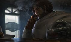 McCree Smoking Overwatch by Jimking on DeviantArt Abraham Van Helsing, Animated Man, Cute Names, Fantasy Paintings, Cg Art, Science Fiction Art, Medieval Fantasy, Sci Fi Art, Game Art