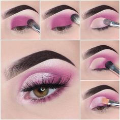 Step by step simple pink look 💞 Makeup used: 🎀Brows: Dipbrow Gel (Ebony) & Brow Wiz (Ebony) - Eye Makeup Cut Crease, Pink Eye Makeup, Makeup Eye Looks, Eye Makeup Steps, Cute Makeup, Simple Makeup, Eyeliner, Glitter Makeup, Makeup Pictorial