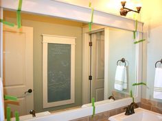 How to frame a Plate-glass wall Mirror . . . need to do in our bathrooms