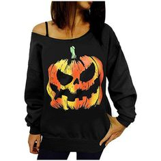 Women's Halloween Sweatshirts One Off Shoulder Long Sleeve Sweater ($9.99) ❤ liked on Polyvore featuring tops, hoodies, sweatshirts, black, off the shoulder sweatshirt, off the shoulder tops, off-the-shoulder sweatshirts, off-shoulder tops and off shoulder long sleeve top
