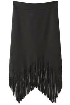 Trendy Black Irregular Tasseled Skirt - OASAP.com