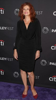 Stylish: Actress Lolita Davidovich, wore a figure-hugging black dress paired with red suede pumps. She plays murder victim Kitty Menendez Lolita Davidovich, Heather Graham, Law And Order, Aging Gracefully, True Crime, Suede Pumps, Plays, Caramel, Kitty