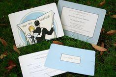 Custom vintage art deco wedding invitations - Newspaper Couple - GoGoSnap on Etsy