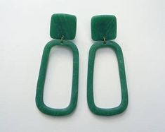 Rectangular Oversized Minimalist Statement Drop Earrings / polymer clay