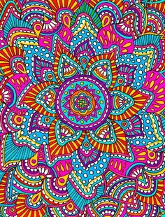 Mandala Pattern Art and with Such Great Colors! Mandala Drawing, Mandala Painting, Mandala Art, Mandala Pattern, Pattern Art, Impression Textile, Sharpie Art, Wow Art, Mandala Coloring